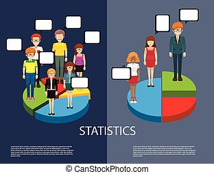 Statistics - Inforgraphic with man and woman on piechart
