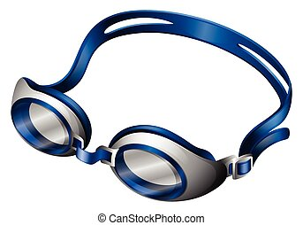 Goggles - Blue swimming goggles with rubber band