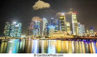 Nighttime Singapore timelapse - Nighttime skyline of...