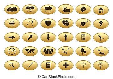 gold web buttons - vector set