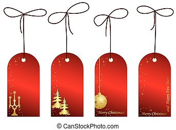 red christmas labels with decor