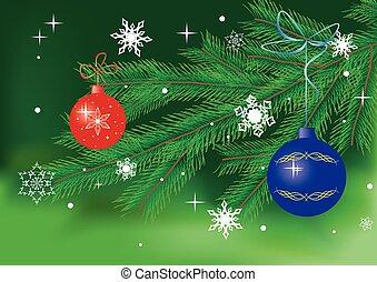 vector green card with christmas decor