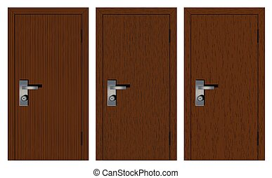 Wooden doors on a white background.