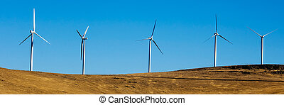 Wind turbines. - Wind turbines in the desert.