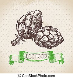 Hand drawn sketch artichoke vegetable. Eco food background