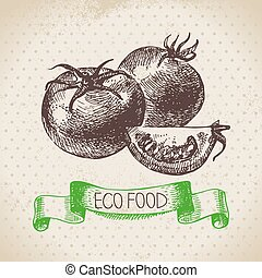 Hand drawn sketch tomato vegetable Eco food backgroundVector...