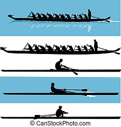 rowing silhouette vector - collection of kayak silhouette...