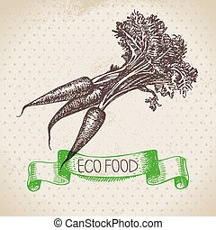 Hand drawn sketch carrots vegetable Eco food...