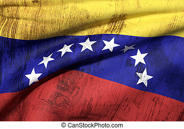 Venezuela flag - 3d rendering of a dirty and old venezuela...