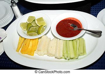 Zanahoria Pepino y Jicama - Platillo de frutas variedad,...