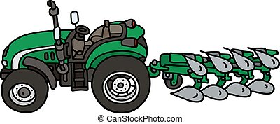 Tractor with a plow - Hand drawing of a green open tractor...