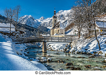 Panoramic view of scenic winter landscape in the Bavarian...