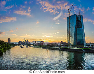 Beautiful view of Frankfurt am Main skyline and European Central Bank at dusk, Germany