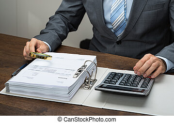 Businessman Inspecting Receipts In Office