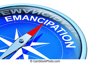 emancipation - 3D rendering of a compass with a emancipation...