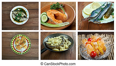 set of different seafoods. - Food set of different seafoods....
