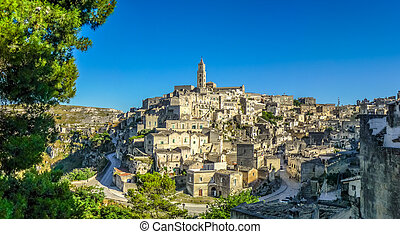Ancient town of Matera at sunset, Basilicata, Italy -...