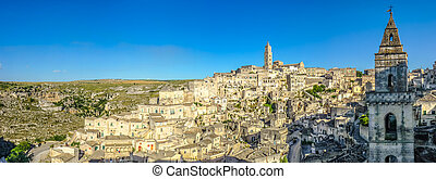 Ancient town of Matera at sunset, Basilicata, Italy -...