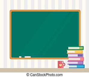 Books on desk. Clean board. Back to school. Education objects, or university and college symbols. Stock design elements