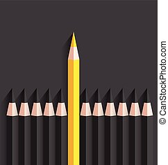 Yellow pencil Standing out from others -Vector Illustration