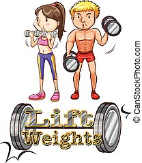 Lift weights - Man and woman  doing weightlifting