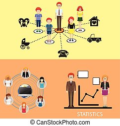 Business - Inforgraphic with people and statistics