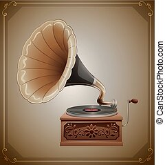 Gramophone - Classic gramophone with recorder and wooden box