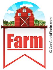 Farmhouse - Red barn background on flag template