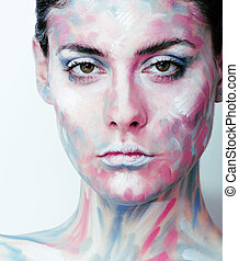 young woman with creative make up like painted oil picture...