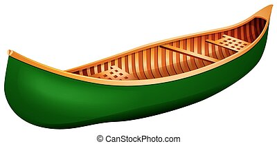 Canoe - Green canoe in simple design