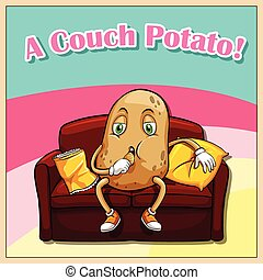 Idiom - English idiom saying a couch potato
