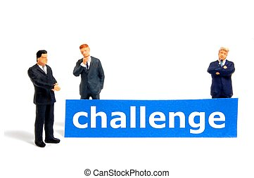 business challenge with small toy man isolated on white