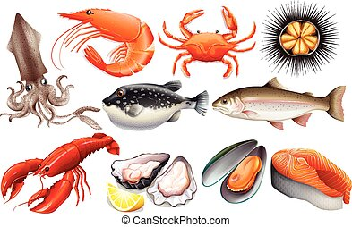 Seafood - Different kind of fresh seafood