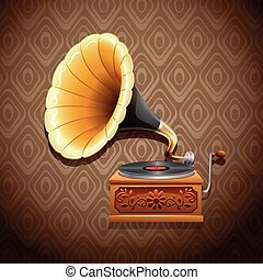 Gramophone - Vintage gramophone with recording disk