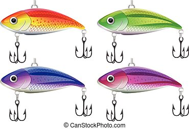 Lure fishing in four different colors