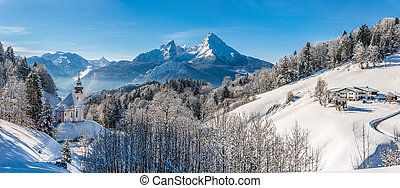 Panoramic view of beautiful winter landscape in the Bavarian...