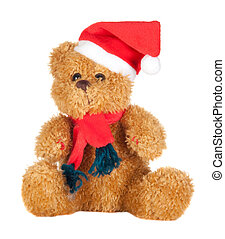 Beautiful teddy bear with scarf and Christmas hat isolated...