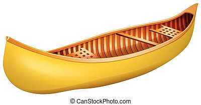 Canoe - Yellow wooden canoe with no design