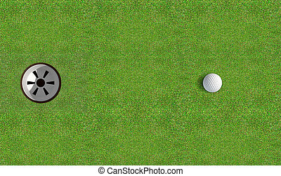 Golf Hole With Ball Approaching - A view of a perfectly...