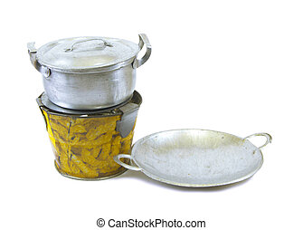 Pot pan and stove tin toy on white background - Pot pan and...