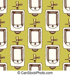 Sketch urinal in vintage style, vector seamless pattern