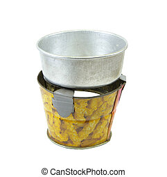 Pot on stove tin toy with clipping path - Pot and stove tin...