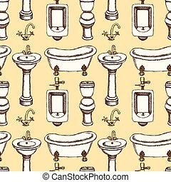 Sketch bathroom and toilet equipment in vintage style,...