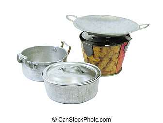 Pot pan and stove tin toy with clipping path on white...