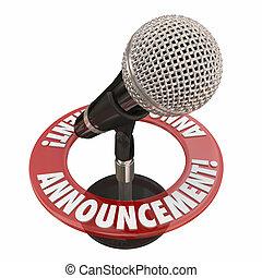 通告, 話筒, 警報, 重要, 演說, 地址, 新聞, 公眾