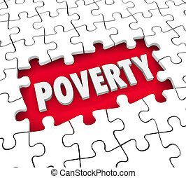 Poverty Puzzle Hole Poor Living Conditions Hunger Puzzle...