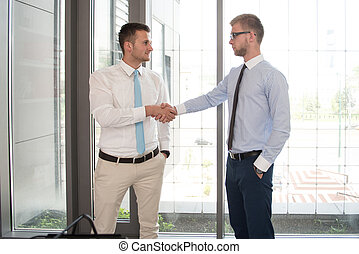 Two Business Man Shaking Hands In Office