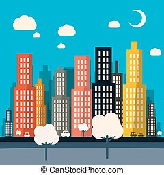 Abstract Vector Night Flat Design City