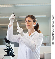 Female Researcher Analyzing Test Tube