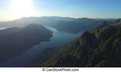 View from 800 meters heigh to the Kotor Bay in Montenegro,...